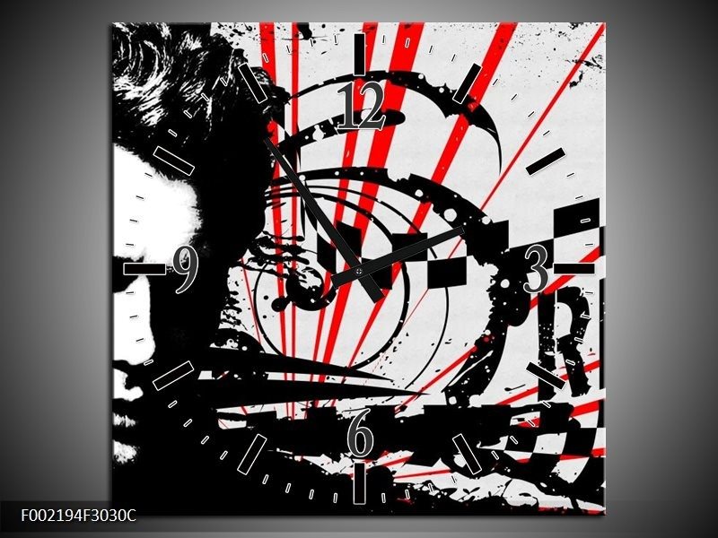 Wandklok op Canvas Popart | Kleur: Zwart, Wit, Rood | F002194C