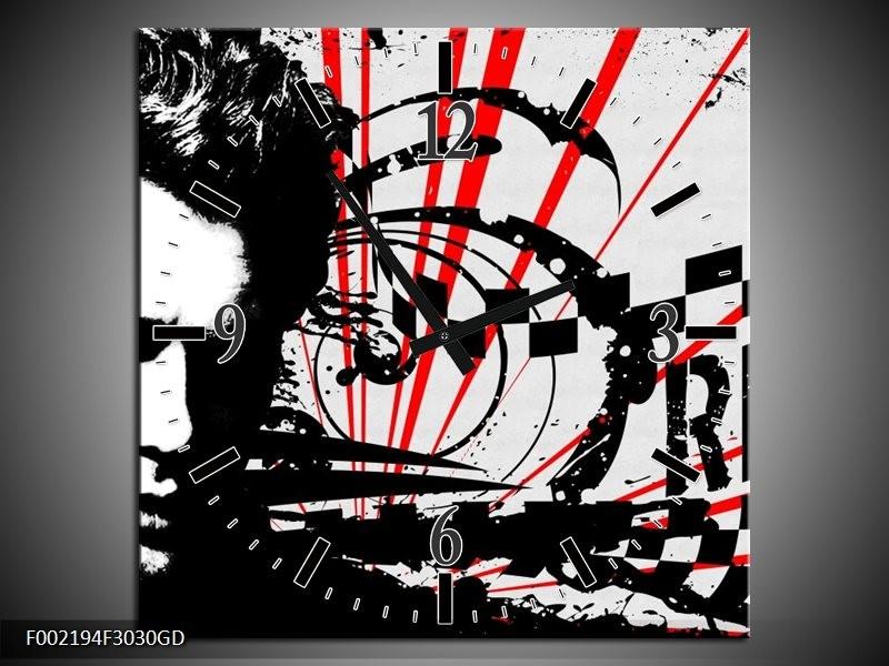 Wandklok op Glas Popart   Kleur: Zwart, Wit, Rood   F002194CGD