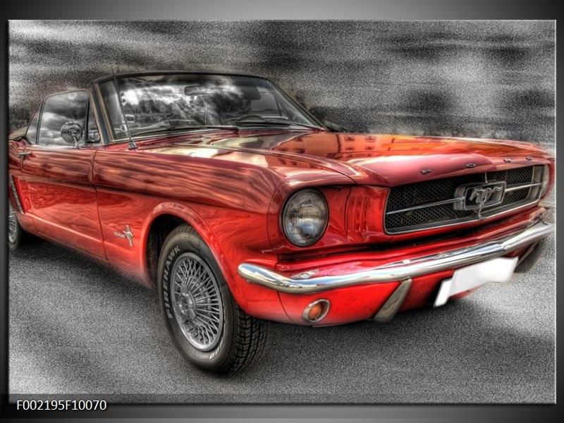Glas schilderij Mustang | Zwart, Grijs, Rood