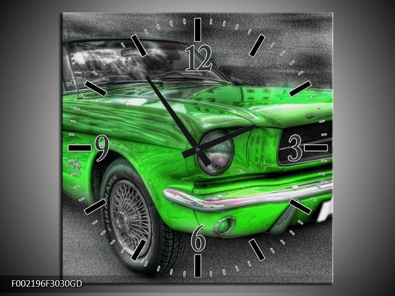 Wandklok op Glas Ford | Kleur: Grijs, Groen | F002196CGD