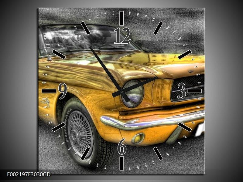 Wandklok op Glas Mustang | Kleur: Zwart, Grijs, Geel | F002197CGD
