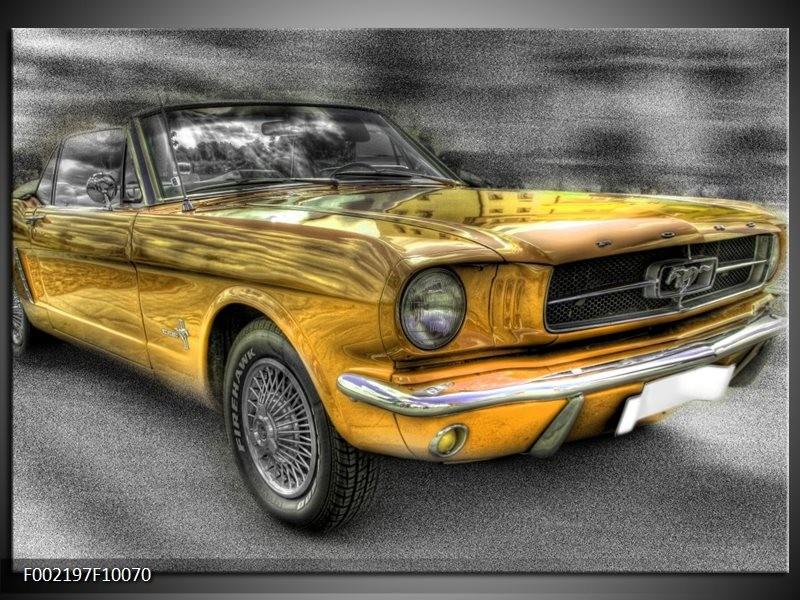 Glas schilderij Mustang | Zwart, Grijs, Geel