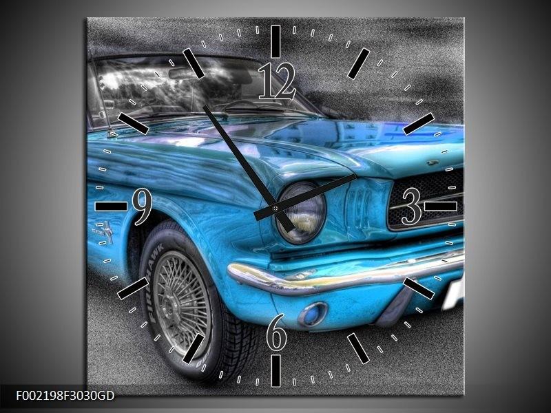 Wandklok op Glas Mustang | Kleur: Zwart, Grijs, Blauw | F002198CGD