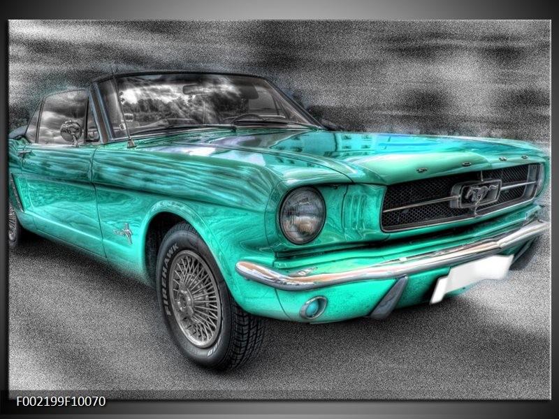 Foto canvas schilderij Mustang   Zwart, Grijs, Blauw