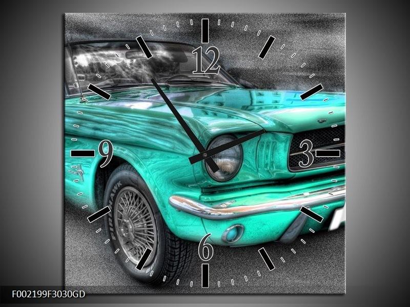 Wandklok op Glas Mustang | Kleur: Zwart, Grijs, Blauw | F002199CGD