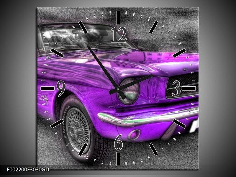 Wandklok op Glas Mustang | Kleur: Zwart, Grijs, Paars | F002200CGD