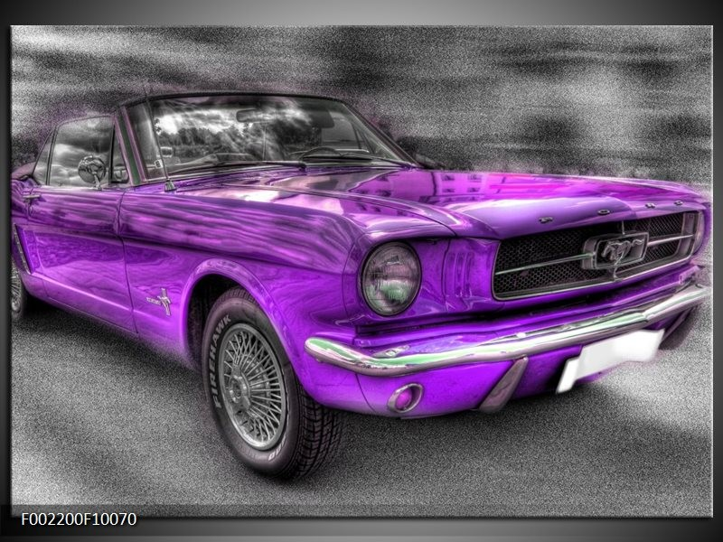 Glas schilderij Mustang | Zwart, Grijs, Paars