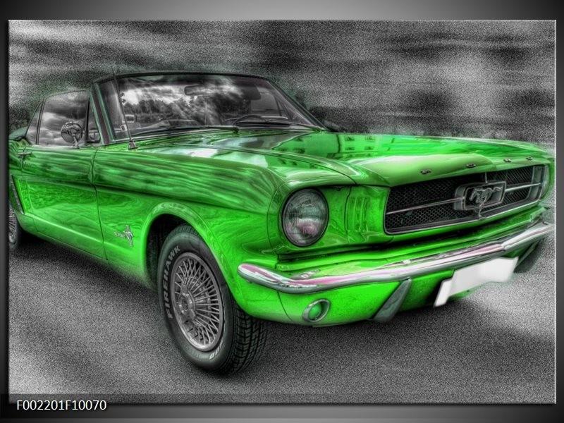 Foto canvas schilderij Mustang | Zwart, Grijs, Groen