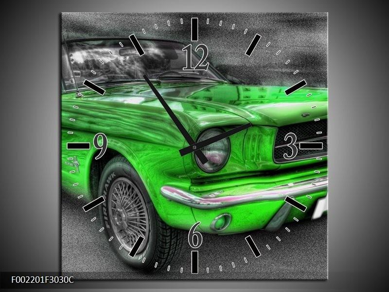 Wandklok op Canvas Mustang | Kleur: Zwart, Grijs, Groen | F002201C
