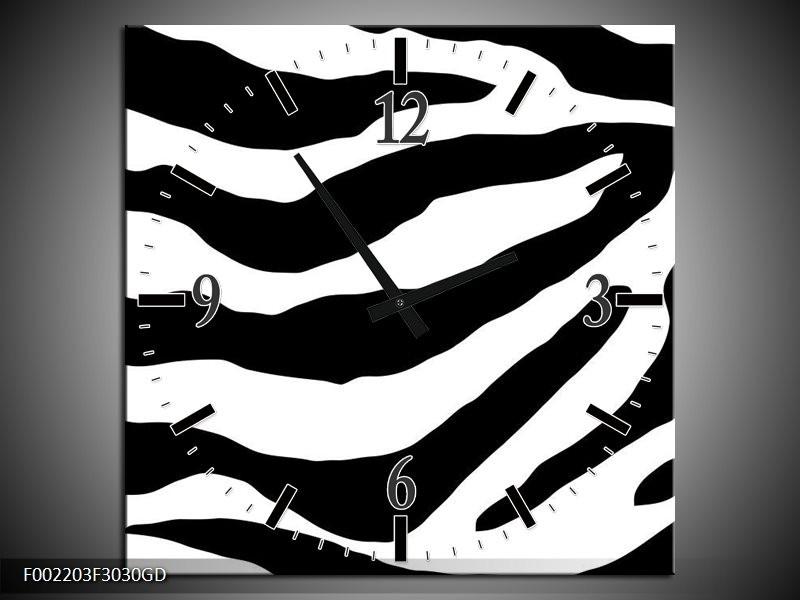 Wandklok op Glas Zebra | Kleur: Zwart, Rood, Wit | F002203CGD