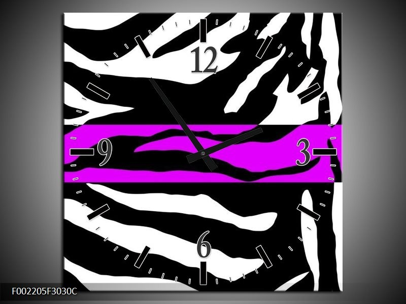 Wandklok op Canvas Zebra | Kleur: Zwart, Wit, Paars | F002205C
