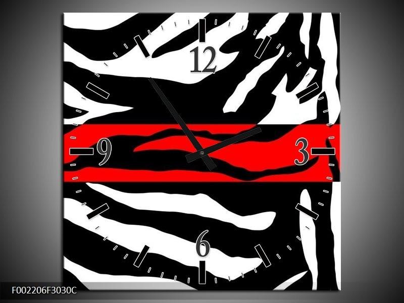 Wandklok op Canvas Zebra   Kleur: Zwart, Wit, Rood   F002206C