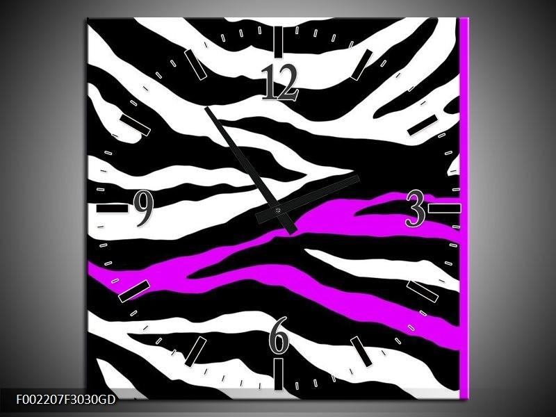 Wandklok op Glas Zebra | Kleur: Zwart, Wit, Paars | F002207CGD