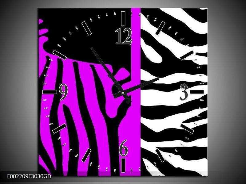 Wandklok op Glas Zebra   Kleur: Paars, Zwart, Wit   F002209CGD