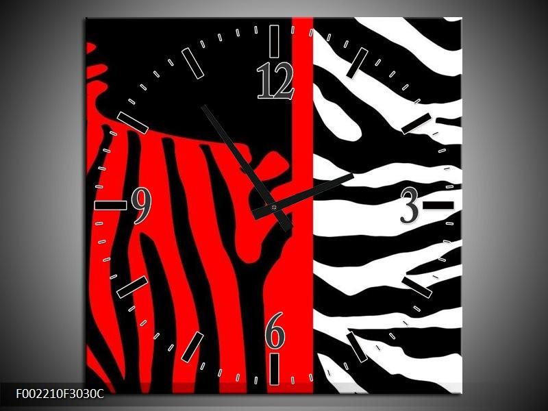Wandklok op Canvas Zebra | Kleur: Rood, Zwart, Wit | F002210C
