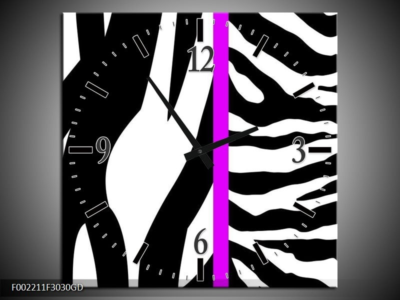Wandklok op Glas Zebra | Kleur: Paars, Wit, Zwart | F002211CGD