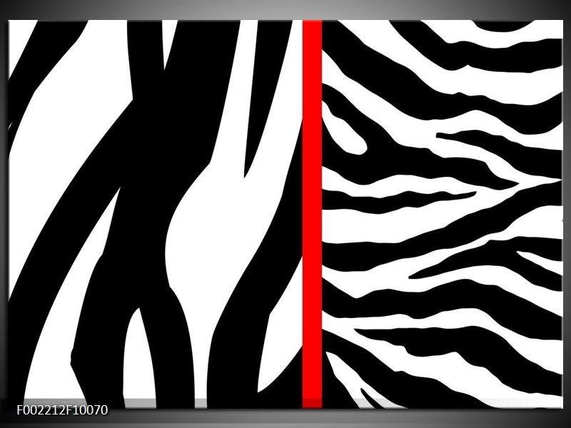 Foto canvas schilderij Zebra | Rood, Zwart, Wit