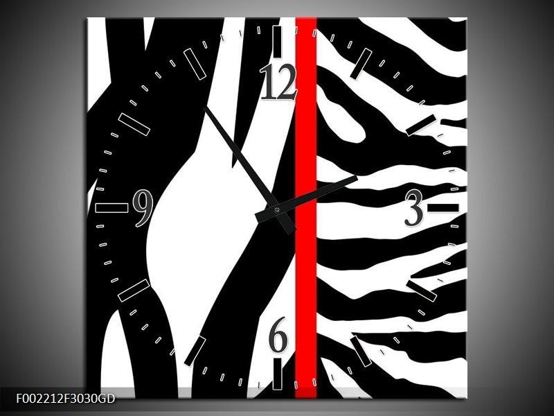 Wandklok op Glas Zebra   Kleur: Rood, Zwart, Wit   F002212CGD