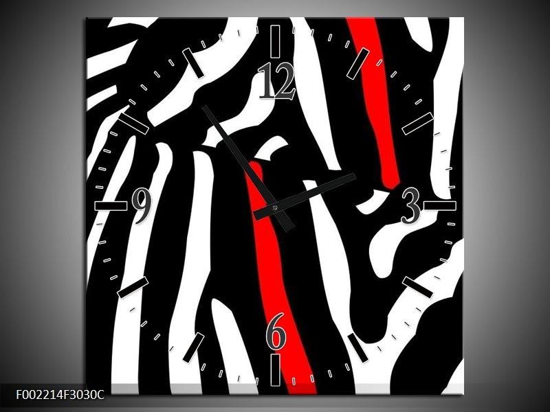Wandklok op Canvas Abstract | Kleur: Zwart, Wit, Rood | F002214C