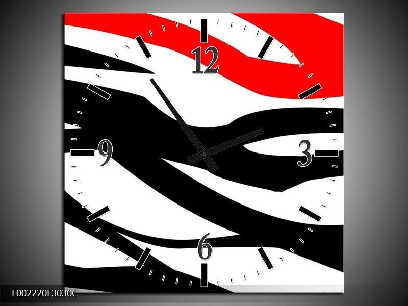 Wandklok op Canvas Zebra | Kleur: Rood, Zwart, Wit | F002220C