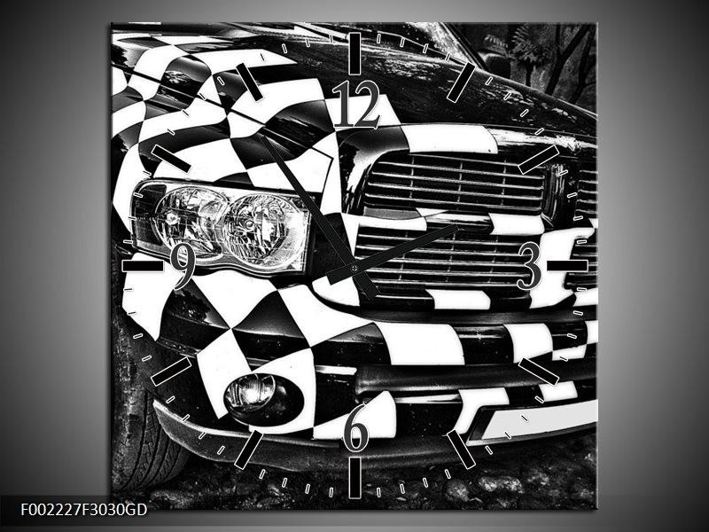 Wandklok op Glas Auto   Kleur: Zwart, Wit, Grijs   F002227CGD