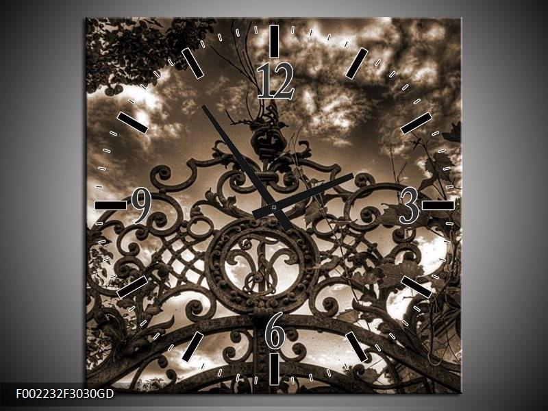 Wandklok op Glas Poort | Kleur: Bruin, Wit, Zwart | F002232CGD