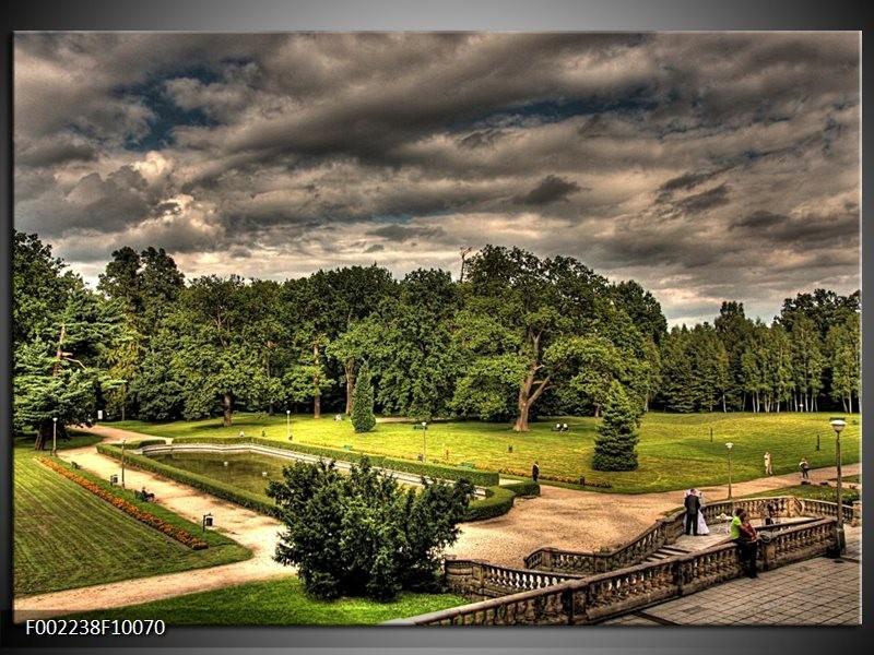 Foto canvas schilderij Tuinen | Grijs, Zwart, Groen