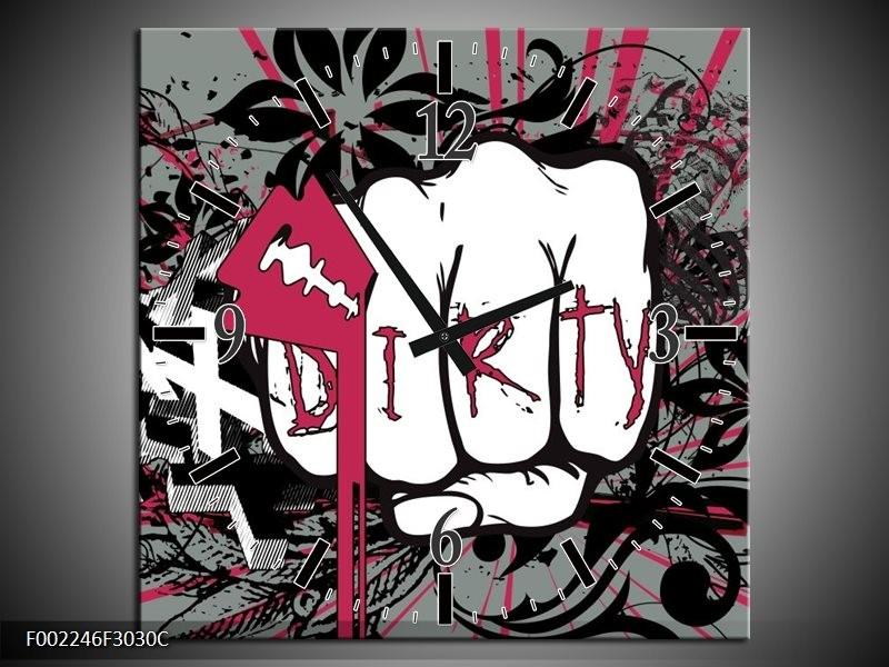 Wandklok op Canvas Popart   Kleur: Zwart, Roze, Wit   F002246C