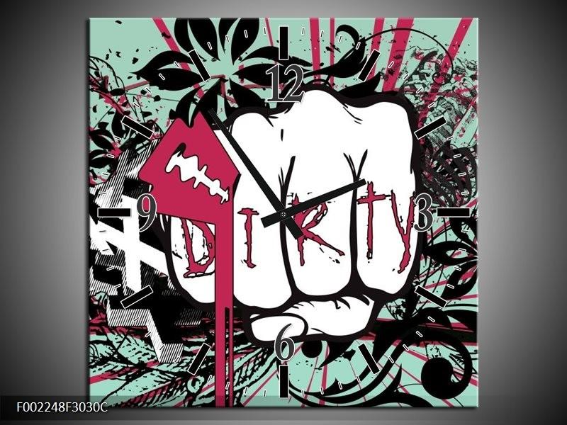 Wandklok op Canvas Popart | Kleur: Zwart, Roze, Wit | F002248C