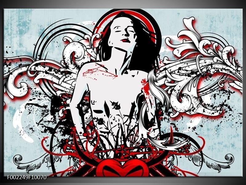 Foto canvas schilderij Popart | Zwart, Rood, Wit