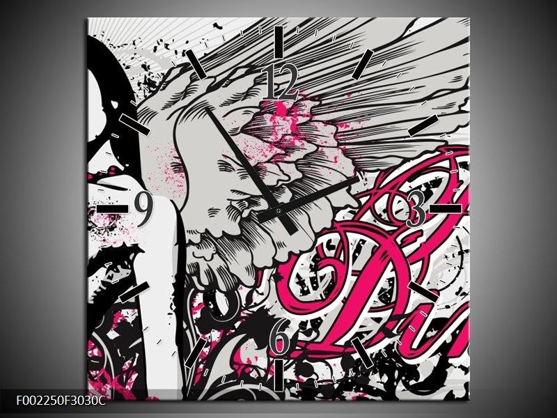 Wandklok op Canvas Popart | Kleur: Zwart, Roze, Wit | F002250C