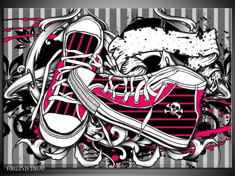 Foto canvas schilderij Popart   Zwart, Roze, Wit