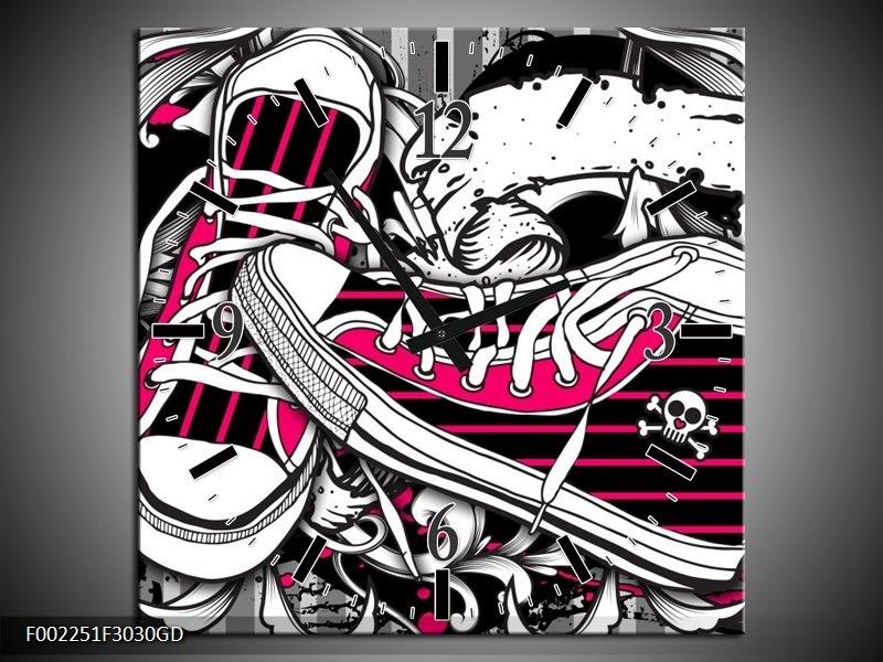 Wandklok op Glas Popart | Kleur: Zwart, Roze, Wit | F002251CGD