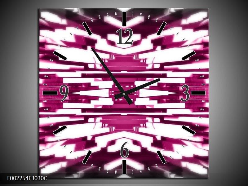 Wandklok op Canvas Abstract | Kleur: Roze, Wit | F002254C