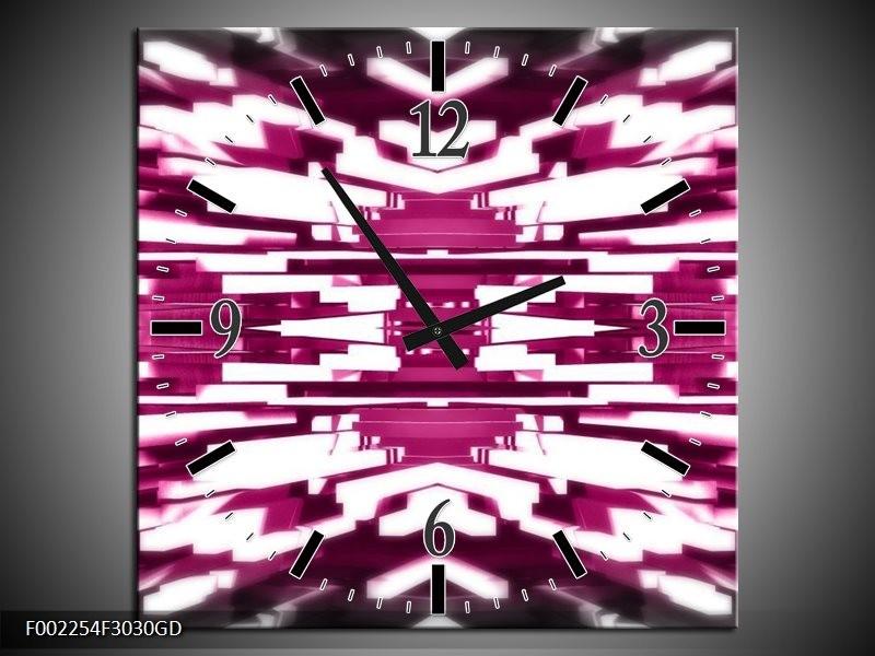 Wandklok op Glas Abstract | Kleur: Roze, Wit | F002254CGD