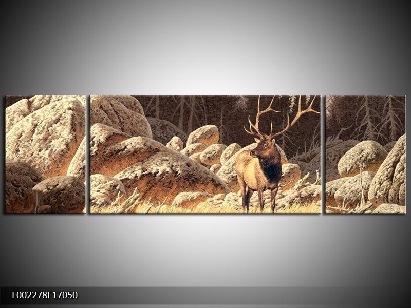 Canvas schilderij Natuur   Bruin, Wit   170x50cm 3Luik