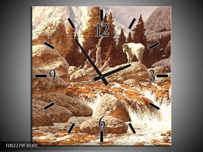 Wandklok op Canvas Natuur   Kleur: Bruin, Wit   F002279C