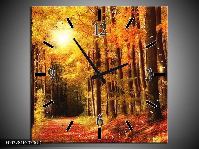 Wandklok op Glas Herfst | Kleur: Geel, Oranje, Bruin | F002281CGD