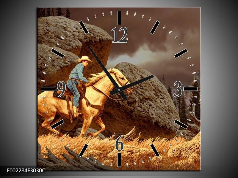 Wandklok op Canvas Paard   Kleur: Bruin, Geel, Grijs   F002284C