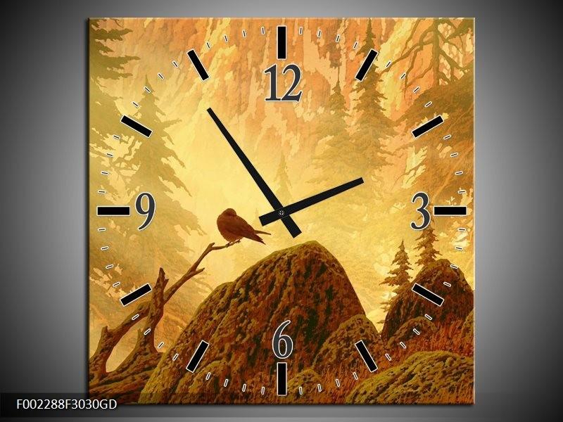 Wandklok op Glas Natuur | Kleur: Geel, Bruin, Wit | F002288CGD