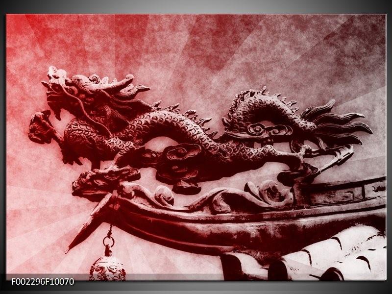 Foto canvas schilderij Draak | Rood, Grijs, Wit