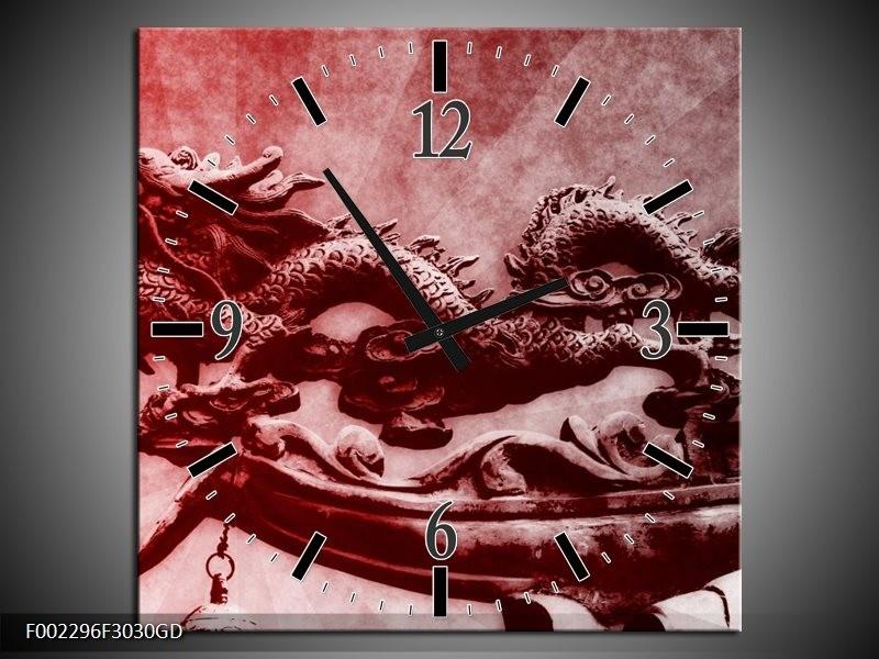 Wandklok op Glas Draak | Kleur: Rood, Grijs, Wit | F002296CGD