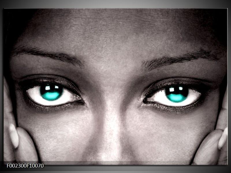 Foto canvas schilderij Gezicht | Zwart, Wit, Blauw