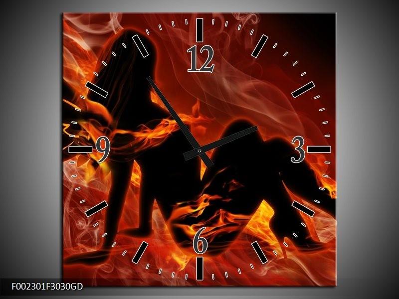 Wandklok op Glas Vrouw | Kleur: Zwart, Oranje, Geel | F002301CGD