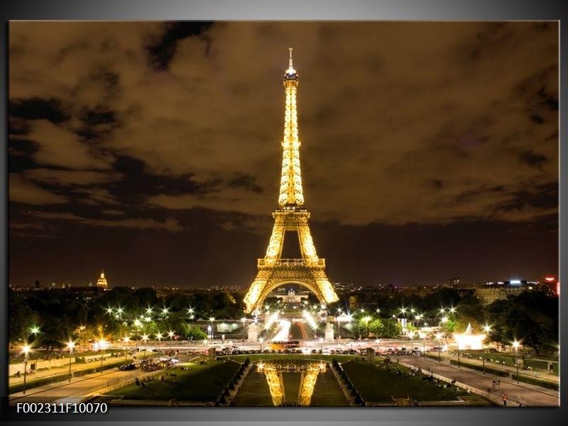 Foto canvas schilderij Parijs | Geel, Bruin, Wit