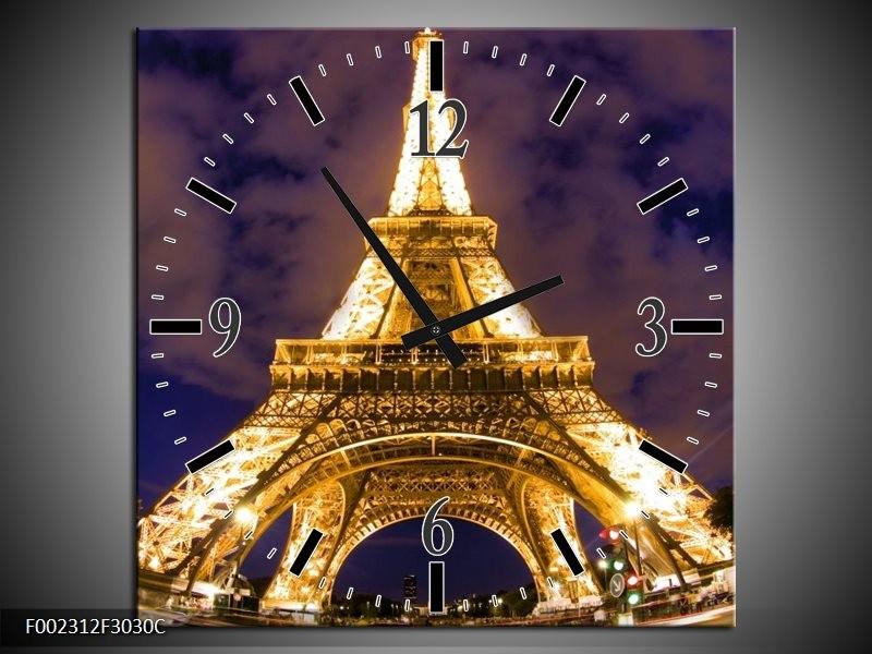 Wandklok op Canvas Eiffeltoren | Kleur: Geel, Paars, Grijs | F002312C