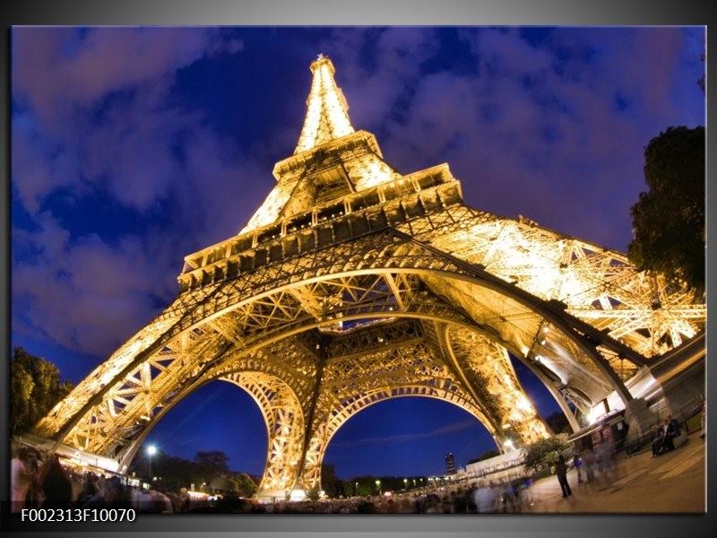 Foto canvas schilderij Eiffeltoren | Blauw, Geel, Wit