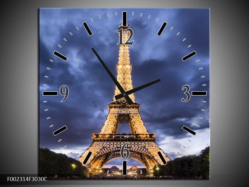 Wandklok op Canvas Eiffeltoren | Kleur: Blauw, Grijs, Geel | F002314C