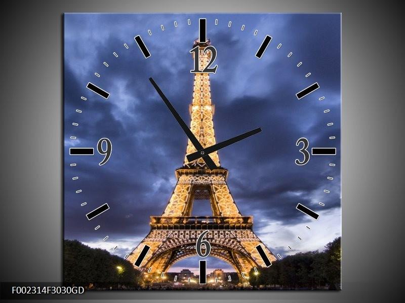 Wandklok op Glas Eiffeltoren | Kleur: Blauw, Grijs, Geel | F002314CGD