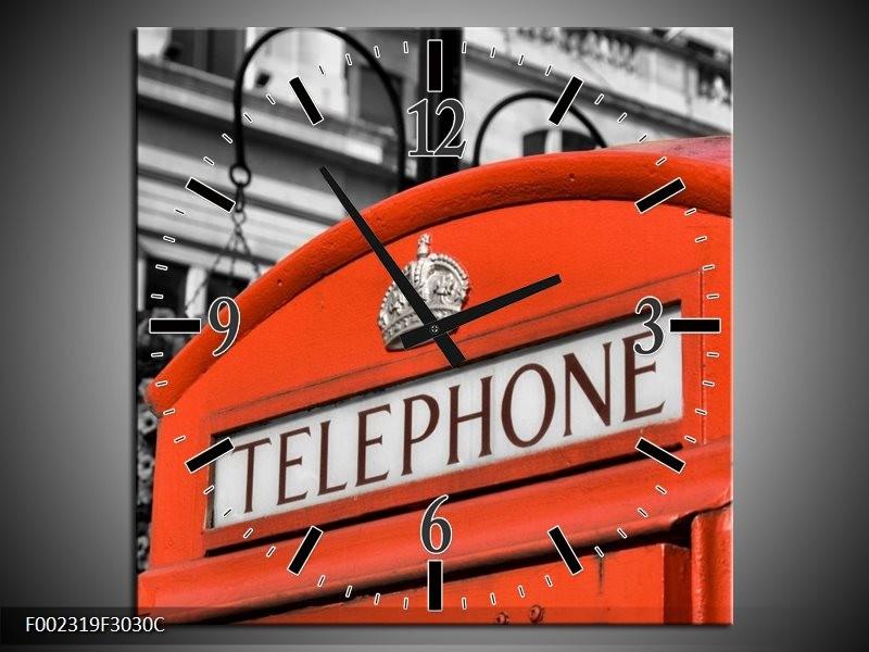 Wandklok op Canvas Engeland | Kleur: Zwart, Wit, Rood | F002319C